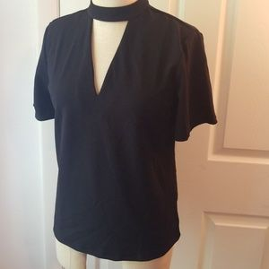 Sz S ANN TAYLOR black V-neck blouse